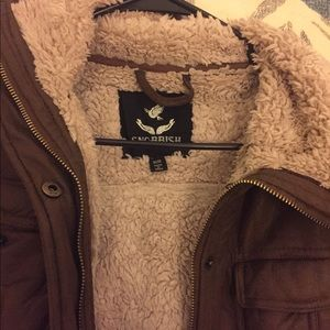 Warm brown leather Bomber jacket
